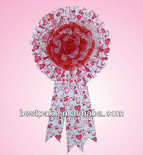 2013 pretty custom impreso grosgrain ribbon con gran roseta broche