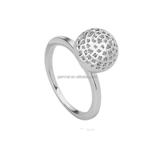 Gemnel Jewelry Simple CZ Diamond Ball Shape White Gold Jewelry Fashion Gift Lady Ring