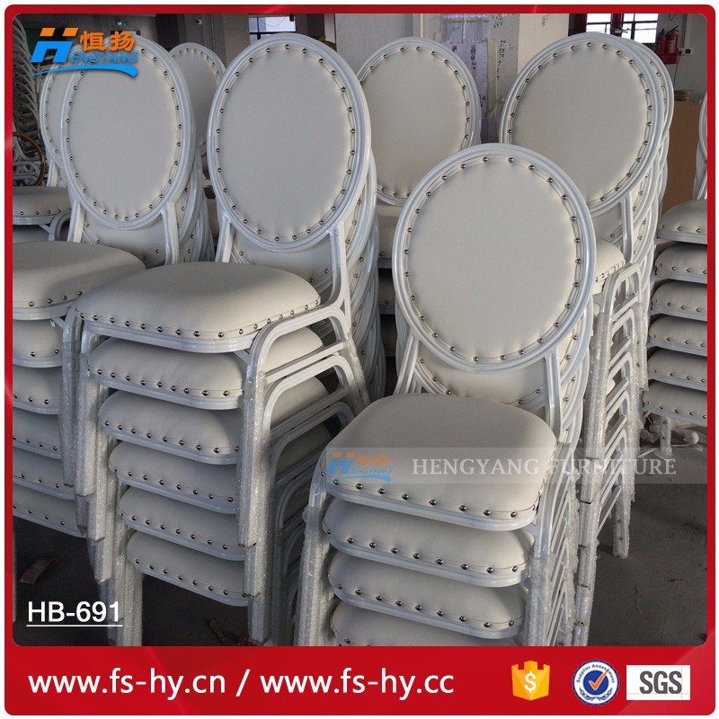 HB-691 wholesale round back aluminum hotel dining chair banquet white price steel banquet chair with upholstered cushion