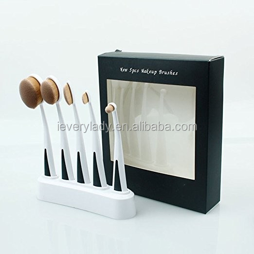 white handle 5pcs oval cosmetic makeup brush set