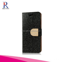 Crystal Diamond Magnetic Design Luxury Bling Sparkling Glitter Flash Powder Flip PU Leather Standup Protective Cover Case