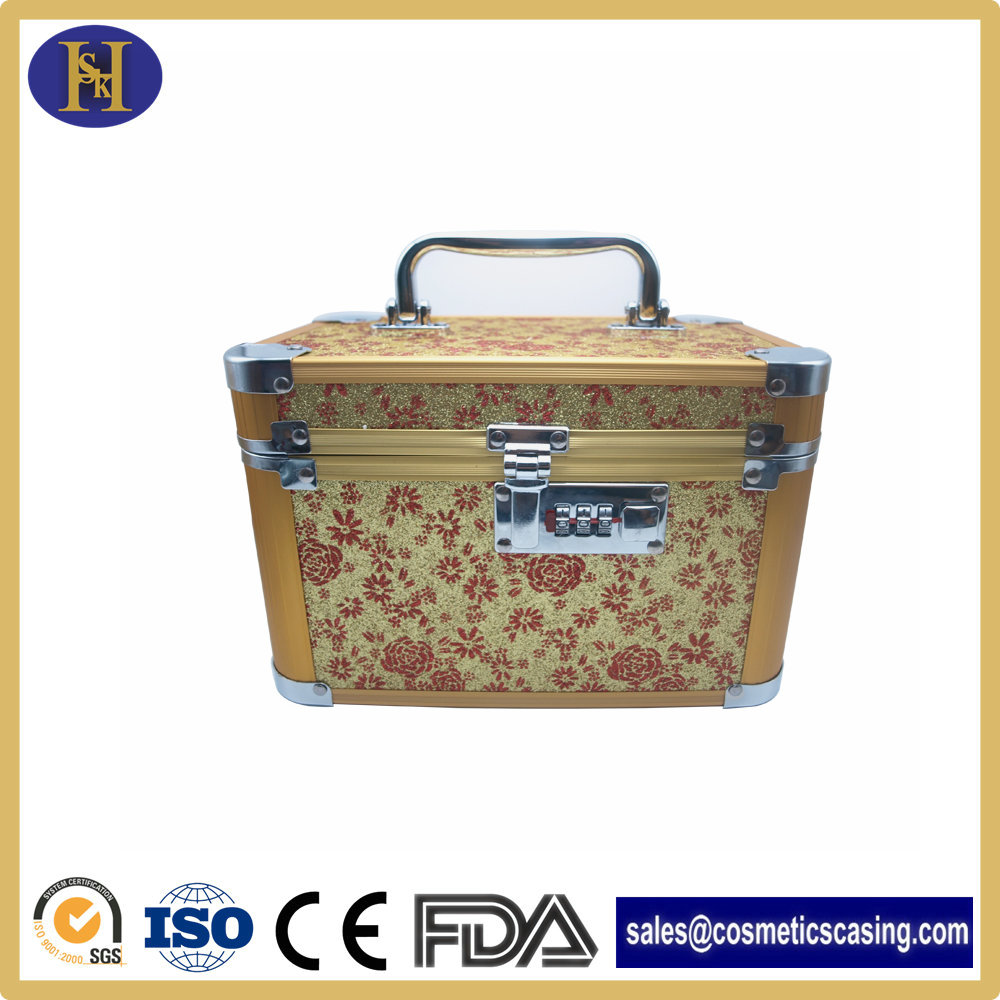 pvc professional makeup train case beauty case/aluminum cosmetic case