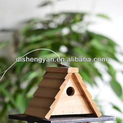 Unfinished Outdoor Wood Bird House, A-Frame Hanging Bird House