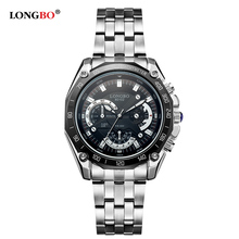 LongBo Wholesale Alloy Case Stainless Steel Multifunction Chronograph For Decorate Mens Watch