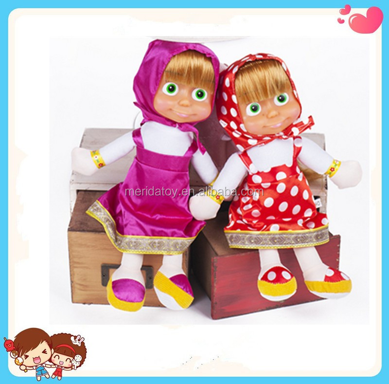 2016 new design wholesale high quality masha and the bear doll toy with walking and speaking electronic toy