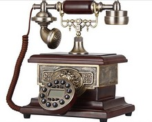 copper and wooden retro corded telephone for office decor or crafts or souvenir YL