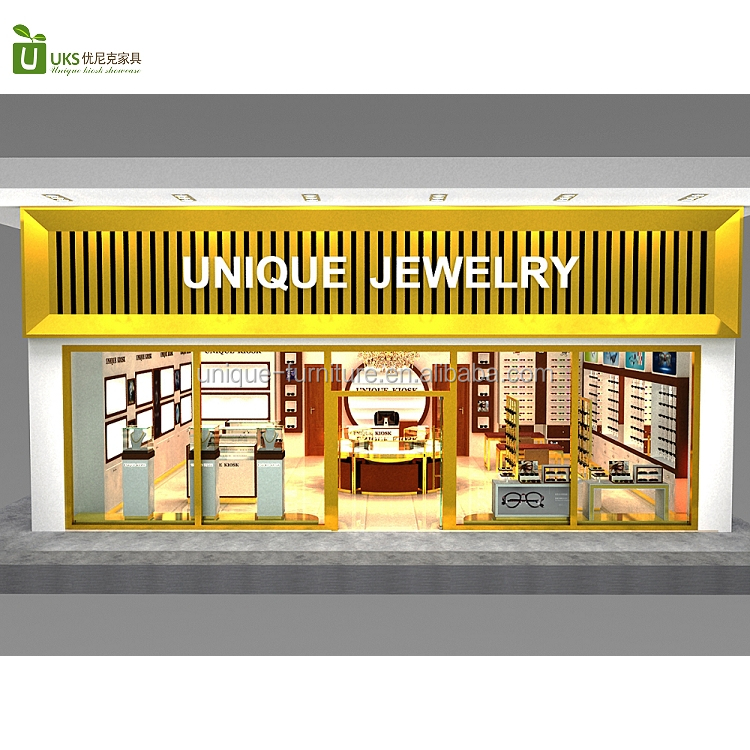 Fancy jewelry store showcase display wooden jewelry store furniture layout idea for sale
