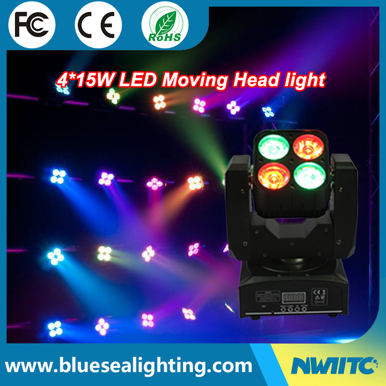 Dmx control mini rgbw 4pcs 10w led wash moving head party light