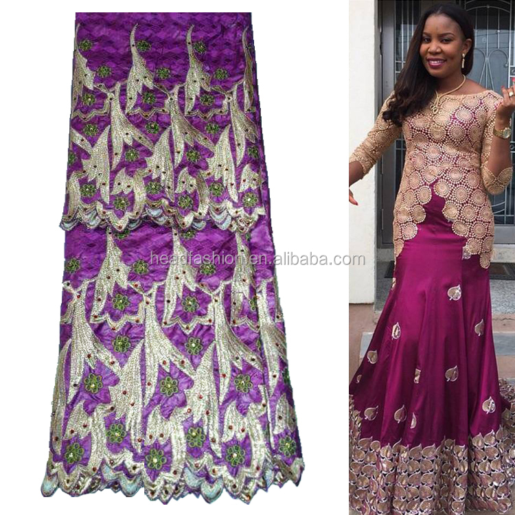 Queency Good Quality Ankara Style Stones Embroidery Jacquard Bazin Riche Dresses African Fabric with Net Lace