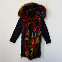 Fur jacket profeesional factory Black jacket with Colorful Multi Real fox fur lining