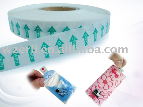 printed and custom open Label for tissue package and sanitary bag