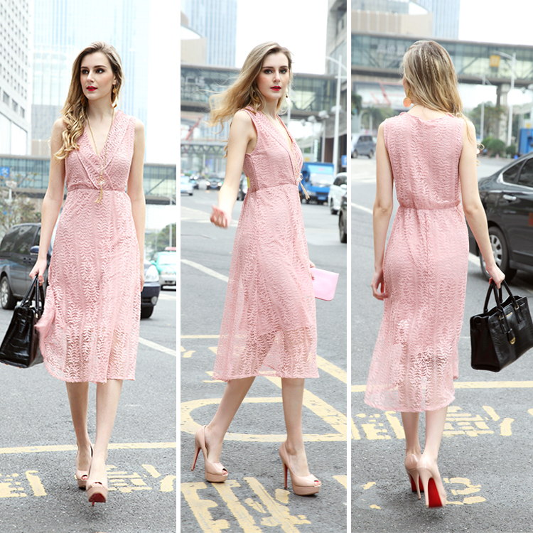 2018 Fashion Casual Lace Crochet ladies evening party dress