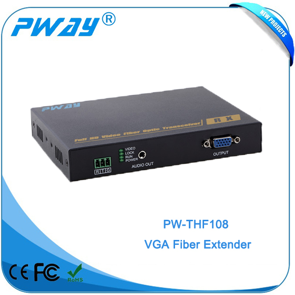 10KM vga to fiber optic converter with External audio with Bidirectional RS232