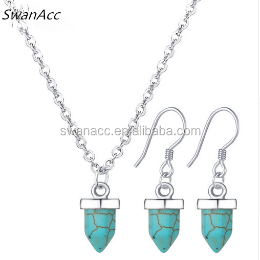 Maxi Statement Jewellery Bohemia Turquoise Pendant Collier Bridal Wedding Jewelry Set For Women