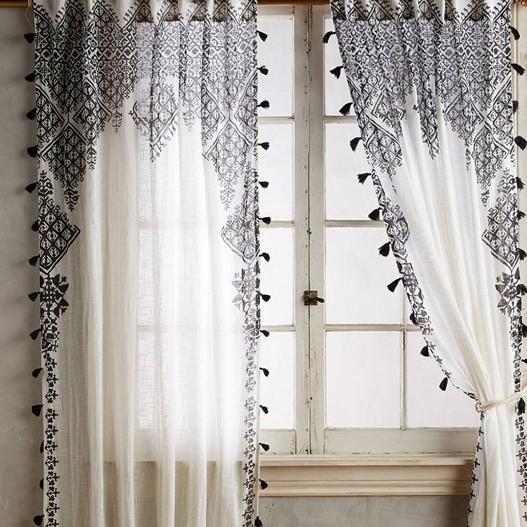 Best quality white and black useful sheer lace curtain for wedding