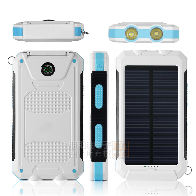 2017 Trending Products 10000mAh Lithium Polymer Battery IP67 Waterproof Solar Power Bank With Flashlight Compass for Outdoor