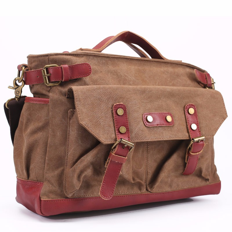 Oversized Canvas Leather Trim Travel Tote Duffel shoulder handbag Weekend Bag
