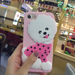 Manufactory Custom 3D Pink Puppy Dog Cute Silicone Tpu Protective Cover Cellphone Soft Skin Mobile Phone Case For Iphone 7 8