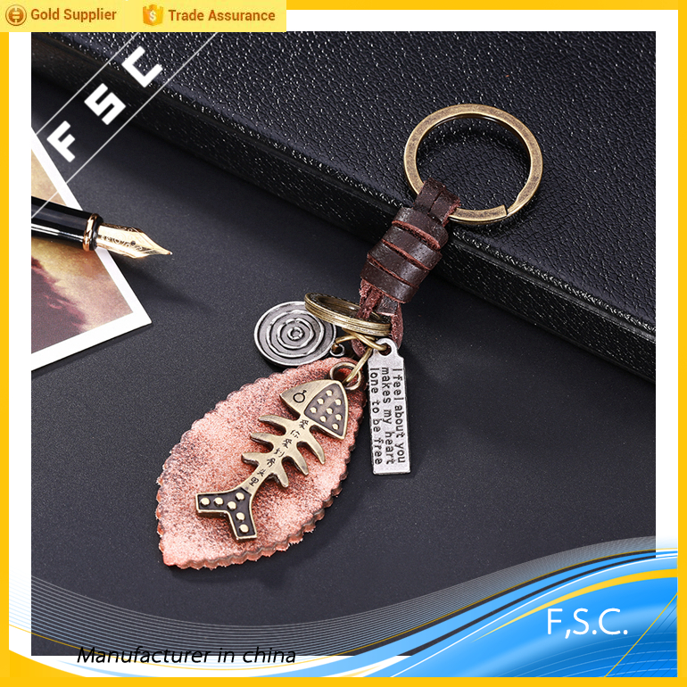 2017 fashion cheap various shapes customized engraved fishbone key chain