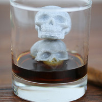 Special skull shape gray color whiskey chiller stone for hallowmas decoration