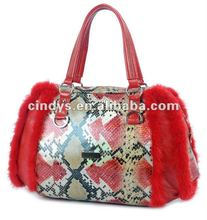 2012 winter ladies handbag with fur