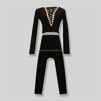 2016 Autumn Winter Latest Fashion Black Long Sleeve Sexy 2 Piece Bandage Clothing Set Women dresses Vestidos elegantes B-36