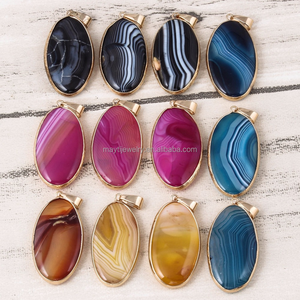 Color Agate Stone Pendant Gold Plated Natural Agate Pendant Oval Pendant Necklace Making DIY Christmas Gift For Yoga Necklace