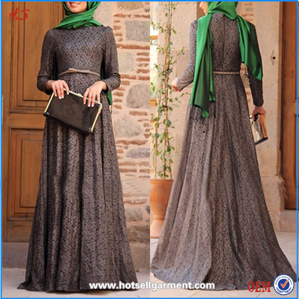 New arrival fashion wholesale price muslim women elegant dress pictures latest design maxi lace muslim dress