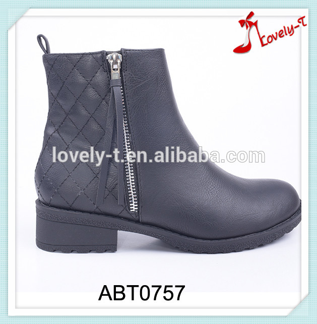 Patchwork military fashionable new models flat ankle boots women with double zipper