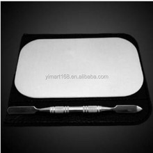 Yimart High Quality Stainless Steel Cosmetic Makeup Mixing Mini Palette and Spatula