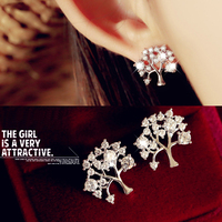 Fashion jewelry 925 silver needle tree shape cubic zirconia earring for seductive lady