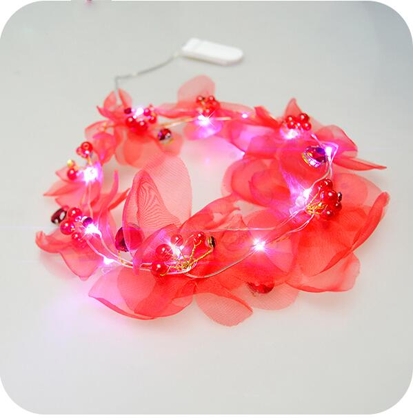 New Fashion Design Battery Operated Christmas Wreath Flower Led Headband Fairy String Lights