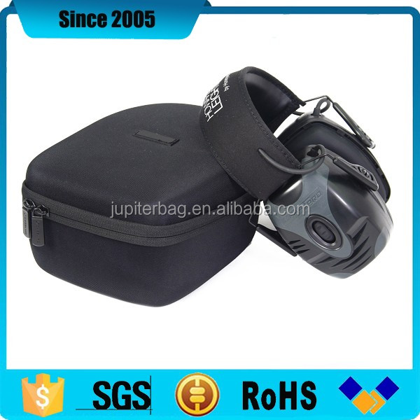 black nylon cover eva headphone flight case with strap