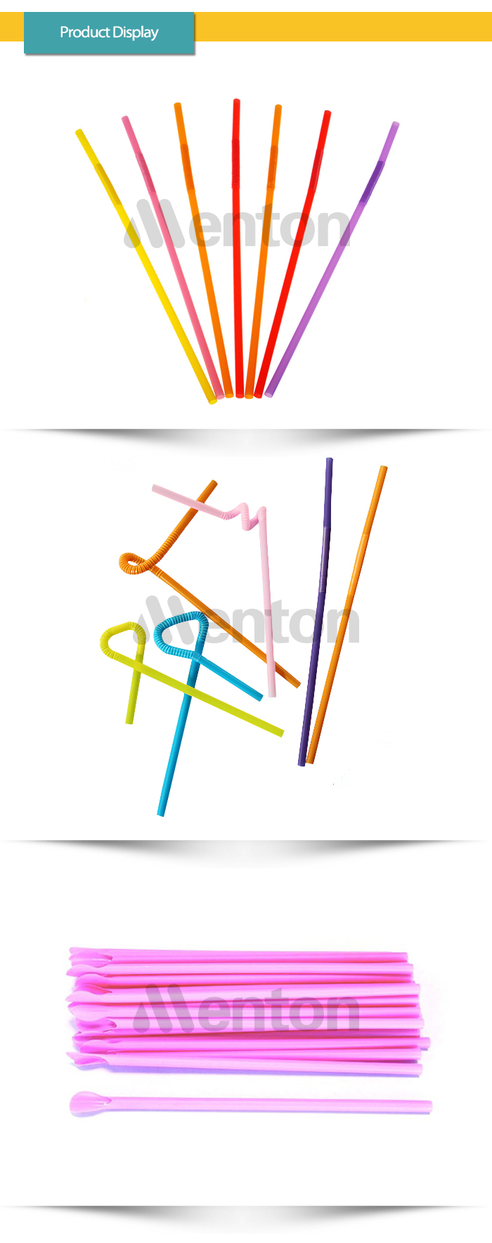 buy directly from factory colorful hard plastic straw with spoon