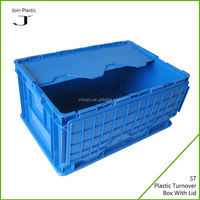 Stackable packing plastic crates with cover