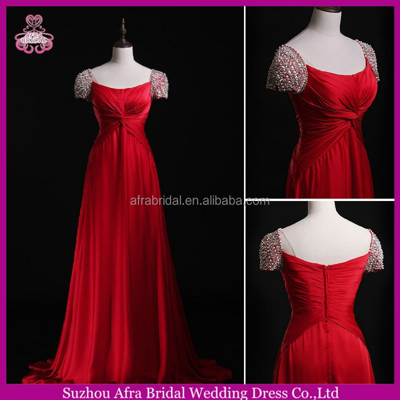 SW706 pearls bling short sleeve elegant red chiffon evening dress online shopping