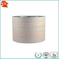 customized round natural wood laser silver paper houses lampshade