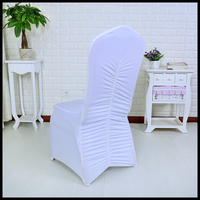 factory direct sale back ruffled cheap universal spandex chair cover wedding decoration