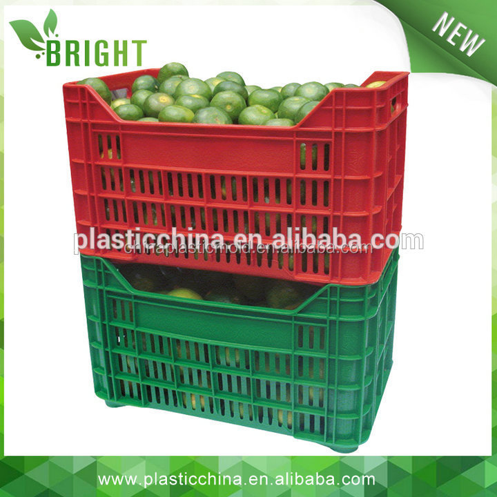 30KG BX0358C New design nestable plastic agricultural colored crate
