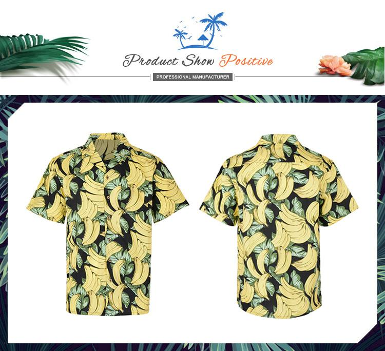 Latest design custom popular beach short sleeve 100% men cotton new model banana shirts