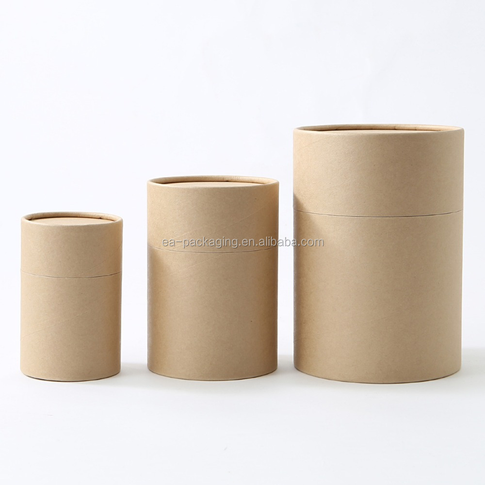 Biodegradable Cardboard kraft round cardboard paper box tube packaging with AL foil