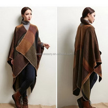 2016 winter warm women plaid wholesale fashion ladies cape