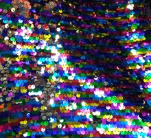 competitive price different kinds rainbow color reversible sequin fabric