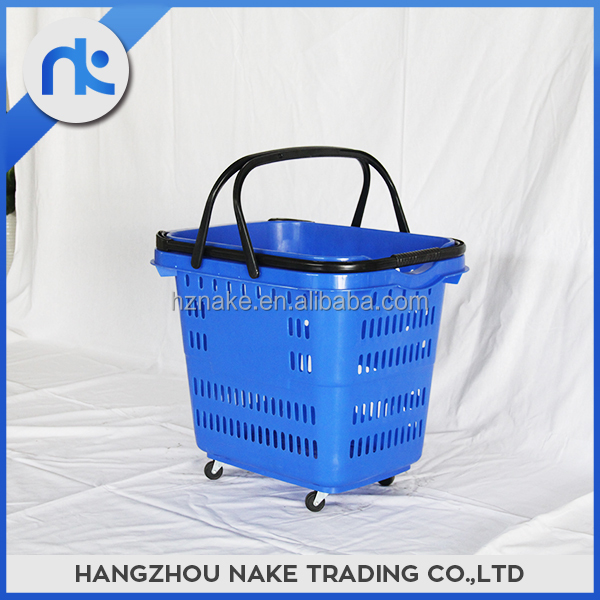 Hot sale collapsible plastic carry shopping basket with wheels
