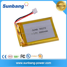 Hot sale for GPS 3.7v 3000mah li polymer battery for medical deivce