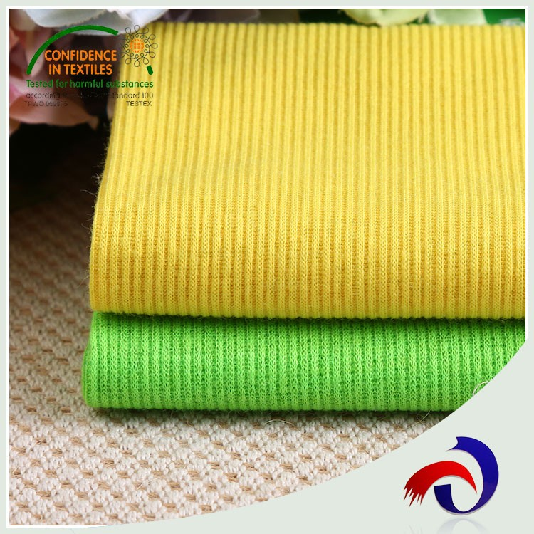 China supply 95 poly 5 sp 30S striped 2x2 knit rib fabric for cloth