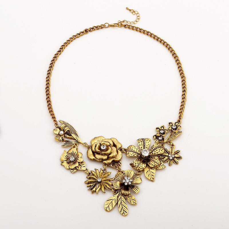 fashion brass flower necklace wholesale metal flower necklace yiwu islamic items