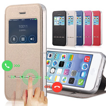 PU Leather Stand Smart Window Flip Case with Magnet Slider for iPhone 4/5/6/6 Plus
