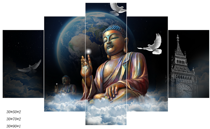 KS83705 Customize Hot Sale Wall Paintings Buddaha And White Pigeons
