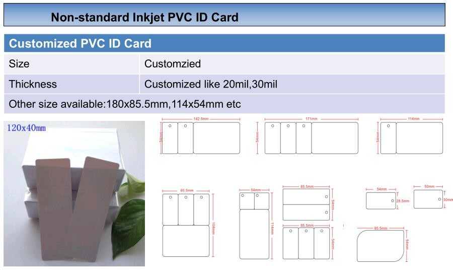 13.56MHZ Fudan F08 Blank Inkjet PVC ID Card for Epson Canon Printer